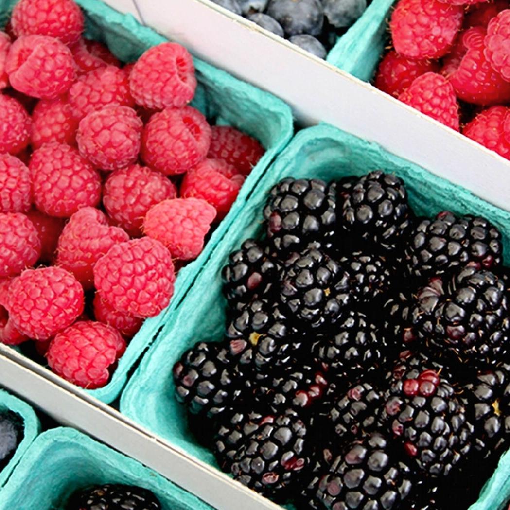 Black berries, raspberries, blueberries
